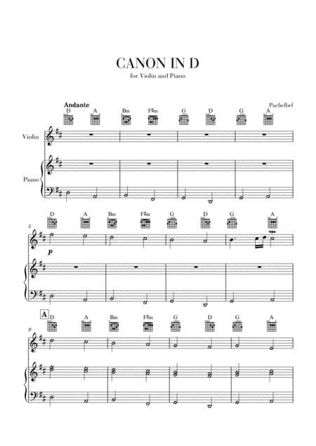 The download includes 4 parts: Canon In D For Violin And Piano With Guitar Chords Sheet Music PDF Download - coolsheetmusic.com