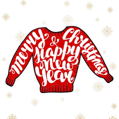 Freesvg.org offers free vector images in svg format with creative commons 0 license (public domain). Merry christmas and happy new year in red sweater Vector ...