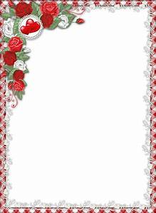 Red Love PNG Transparent Frame with Roses | love frames ...