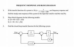 Solved  Frequency Response And Block Diagram 1  If The Tra