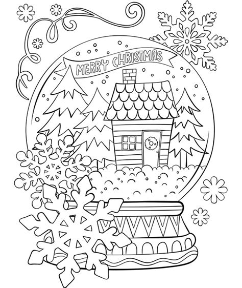 merry christmas snowglobe coloring page crayolacom