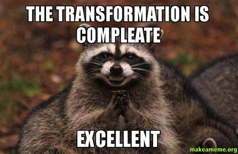 Evil Raccoon Meme - the transformation is compleate excellent evil plotting raccoon make a meme