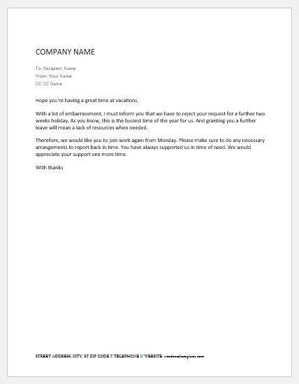 letter  return  work  medical leave word