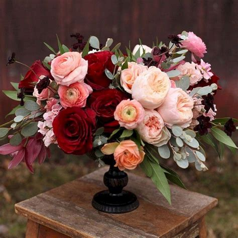 Burgundy Wedding Flower Centerpiece Oosile