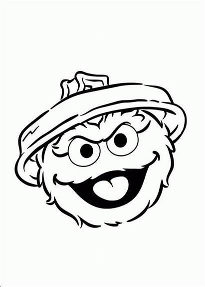 Oscar Coloring Grouch Sesame Street Head Clipart