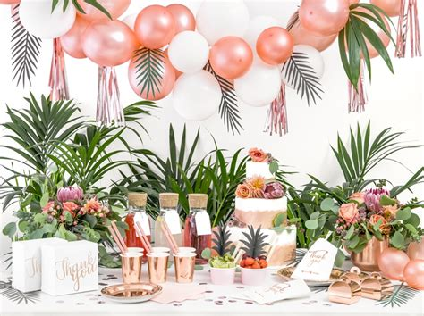 sweet table tropical rose gold anniversaire bapteme