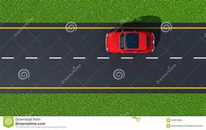 Road With Red Car (top View) Stock Illustration - Image ...