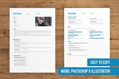 2 Page Resume Template by 2 Page Cv Template Easy To Edit Resume Templates