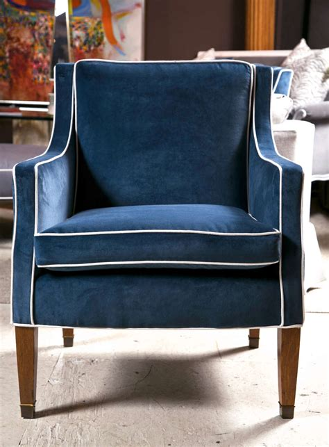 mid century club chairs with blue velvet upholstery at 1stdibs