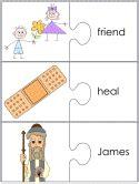twelve disciples jigsaw word match worksheets