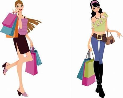 Shopping Clipart Clothes Kartun Gambar Happy Shopper