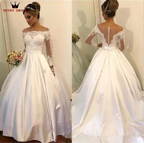 Custom Made Ball Gown Long Sleeve Satin Lace Elegant