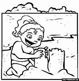 Coloring Drawing Sandcastle Thecolor sketch template