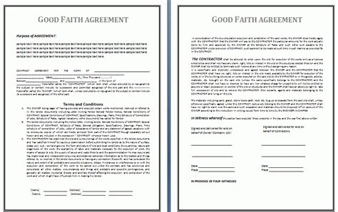good faith agreement template  business templates