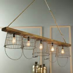 Rustic Wood and Wire Basket Chandelier