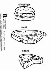 Steak Coloring Hamburger Chops Sheet Pages Printable Pork Template Ham Edupics sketch template