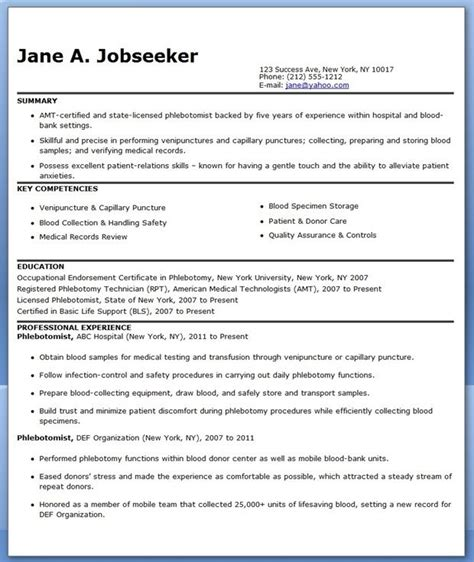 phlebotomist responsibilities resume 28 images