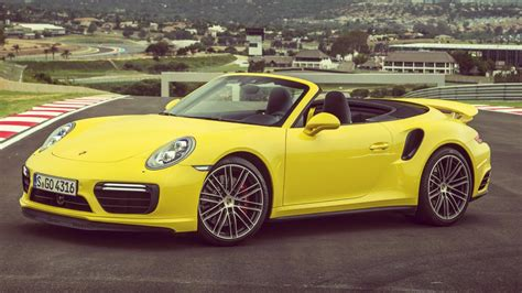 porsche  turbo cabriolet racing yellow full