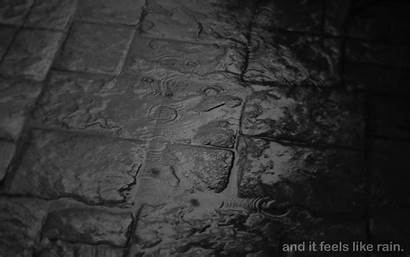 Dark Rain Sidewalk Mood Drops Wet Cobblestone