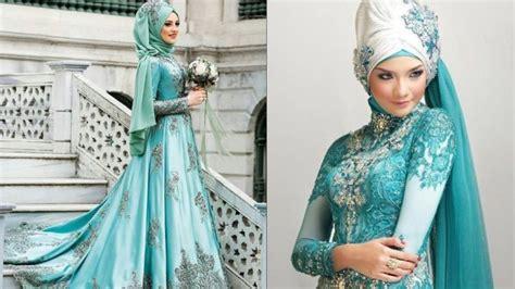 gaun pernikahan hijab bertema turquoise  datangkan