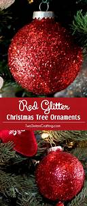Red, Glitter, Christmas, Tree, Ornaments