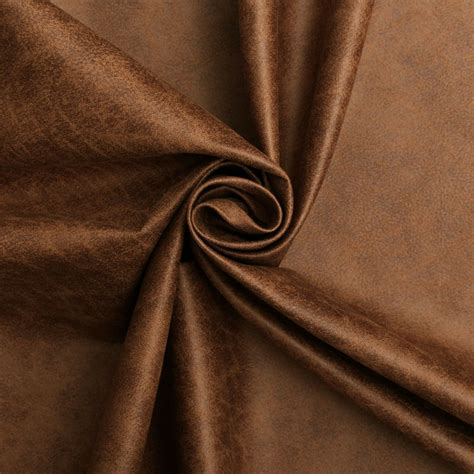 Pleather Upholstery Fabric by Aged Brown Distressed Antiqued Suede Faux Leather