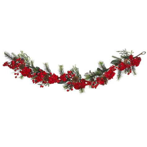 6 foot holiday hydrangea garland christmas garland at