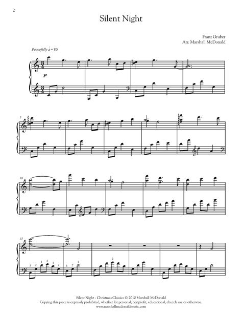 Silent night is well known by people and if you like it, you can also download free silent night sheet music to play with everyone piano. Silent Night (piano) - Marshall McDonald