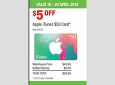 EXPIRED 20% off $50 iTunes Gift Card at Costco until 29