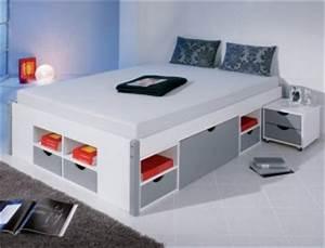 Lit 2 Personnes Avec Tiroir : lit 2 personnes avec tiroir pas cher lit avec tiroir pour adultes ~ Teatrodelosmanantiales.com Idées de Décoration