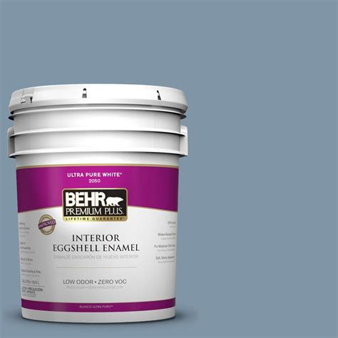 behr premium plus 5 gal 560f 5 bleached denim zero voc eggshell enamel interior paint 240005