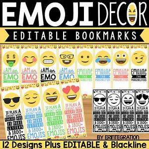 Printable Emoji Bookmark Editable