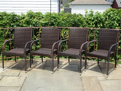Resin Patio Furniture by Set Of 4 Patio Resin Outdoor Garden Deck Wicker Dining Arm
