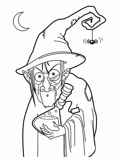 Witch Coloring Witches Pages Potion Halloween Colouring