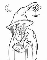 Witch Coloring Witches Pages Potion Halloween Colouring Wicked Printable Wizards Oz Pretty Pot Sheets Wizard Potions Cat Broom sketch template