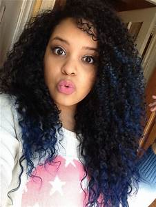Blue tips. Natural curly hair ombré | Curly Hair ...
