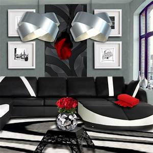 Awesome Deco Salon Blanc Gris Rouge 2 Contemporary Seiunkel Us ...