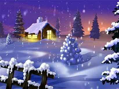 Cabin Winter Christmas Snow Backgrounds Log Merry