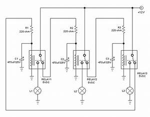 Chasing Lights Controller Circuit Using Relays