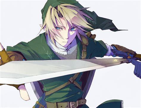 All Male Aqua Eyes Blonde Hair Gloves Hat Link Zelda Male Pointed Ears Short Hair Sword The
