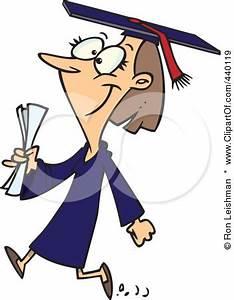 440119-Cartoon-Female-College-Graduate-Walking-Poster-Art ...