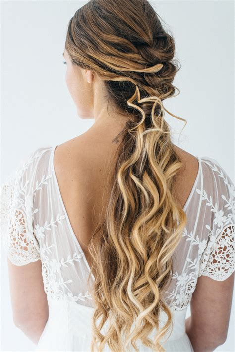 inspiration for half up half down wedding hair with tousled waves