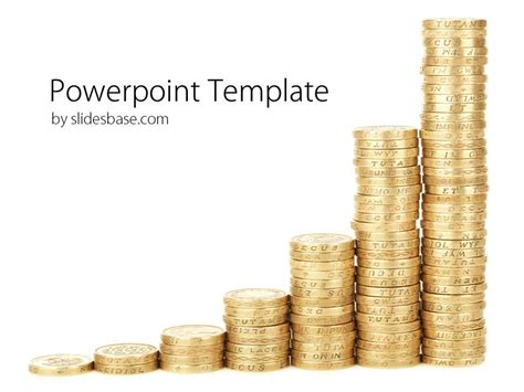 coins graph powerpoint template slidesbase