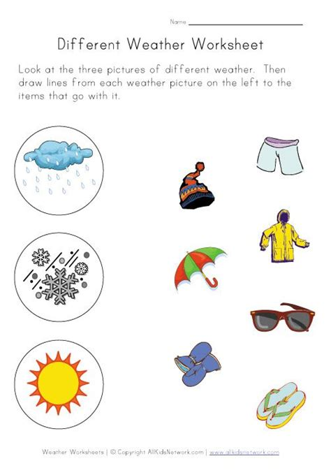 matching weather and clothes worksheet activities pinterest weather worksheets weather