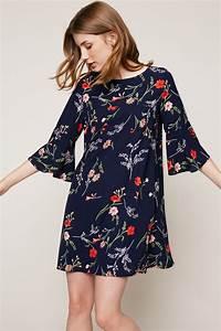 robe courte fleurie marine manche 3 4 zoom fashion With robe droite manche 3 4
