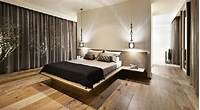 inspiring bedroom wood flooring Black Curtain Closed Glass Window Inside Contemporary Bedroom Designs With Simple Double Bed And ...