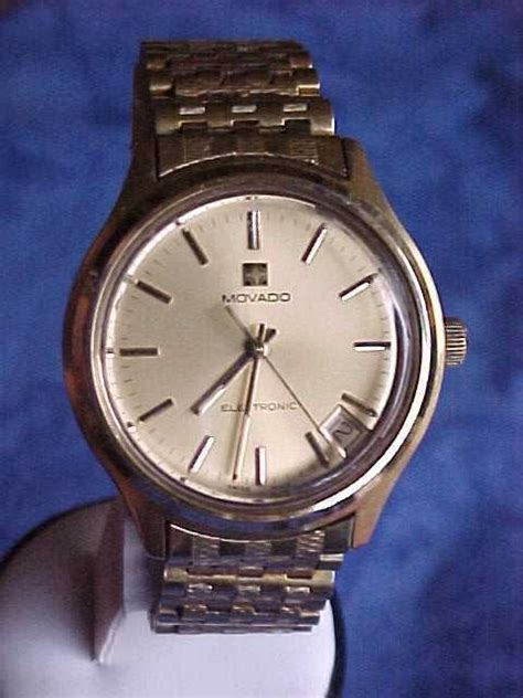 movado surf mens gold zenith fork tuning 1970s plated classic 1970 electronic wrist