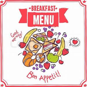 Breakfast Sketch Restaurant Menu With Fruits Bacon And