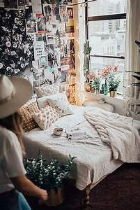 bright, bedroom, with, collage, wall, decorations