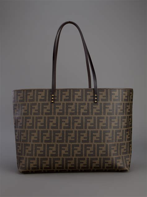 fendi monogram shopper tote  brown lyst
